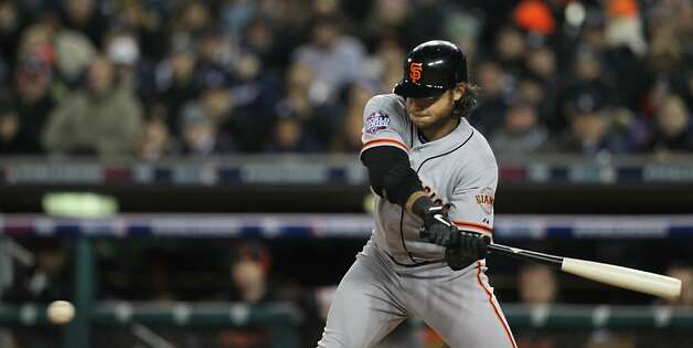Giants' shortstop Brandon Crawford singles in the 3rd inning during game 4 of the World Series at Comerica Park on Sunday, Oct. 28, 2012 in Detroit, MI. Photo: Lance Iversen, The Chronicle