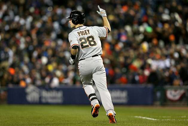 DETROIT, MI - OCTOBER 28:  Buster Posey #28 of the San Francisco Giants celebrates after scoring a two run home run to left field against Max Scherzer #37 of the Detroit Tigers in the sixth inning during Game Four of the Major League Baseball World Series at Comerica Park on October 28, 2012 in Detroit, Michigan.  (Photo by Ezra Shaw/Getty Images) Photo: Ezra Shaw, Getty Images