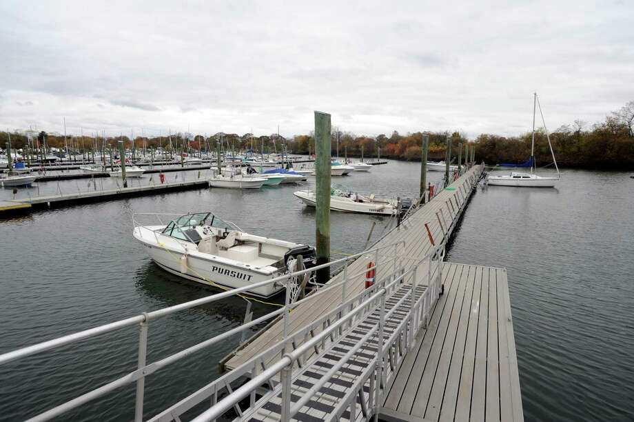 The were a lot of empty boat slips at South Benson Marina in Fairfield, Conn. on Sunday Oct. 28, 2012. Hurricane Sandy is expected to bring heavy wind and rain and possibly historic flooding in Long Island Sound communities from Greenwich to East Haven. Photo: Cathy Zuraw