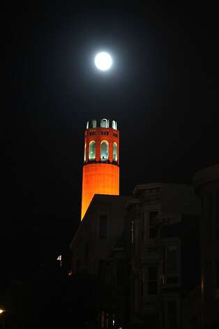 San Francisco lights up orange in support of the San Francisco Giants in the 2012 World Series. Photo: Luanne Dietz, The Chronicle
