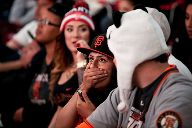 Fans react to a Tigers home run at a World Series viewing party at Civic Center in San Francisco, Calif., Sunday, October 28, 2012. Photo: Jason Henry, Special To The Chronicle