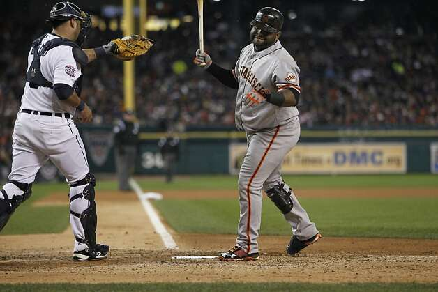 Giants' 3rd baseman Pablo Sandoval reacts after striking out in the 6th inning during game 4 of the World Series at Comerica Park on Sunday, Oct. 28, 2012 in Detroit, MI. Photo: Michael Macor, The Chronicle