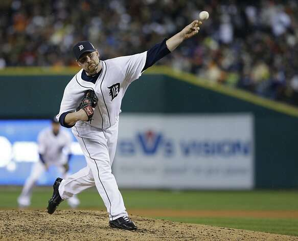 Detroit Tigers' Phil Coke throws during the ninth inning of Game 4 of baseball's World Series against the San Francisco Giants Sunday, Oct. 28, 2012, in Detroit. (AP Photo/Matt Slocum) Photo: Matt Slocum, Associated Press