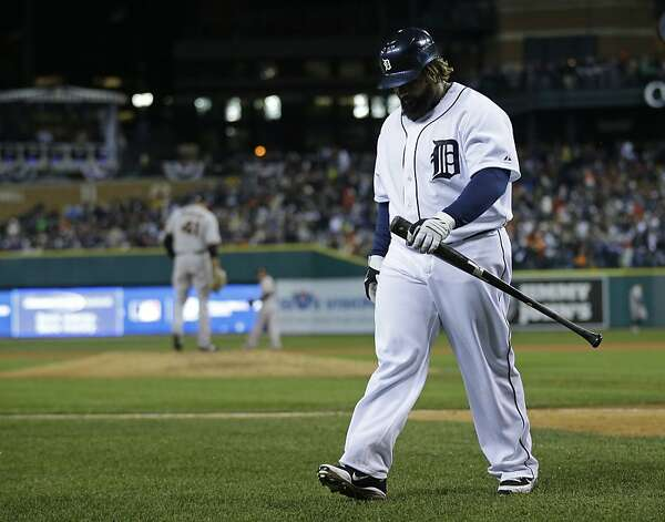 Detroit Tigers' Prince Fielder walks to the dugout after striking out during the eighth inning of Game 4 of baseball's World Series against the San Francisco Giants Sunday, Oct. 28, 2012, in Detroit. (AP Photo/Matt Slocum) Photo: Matt Slocum, Associated Press