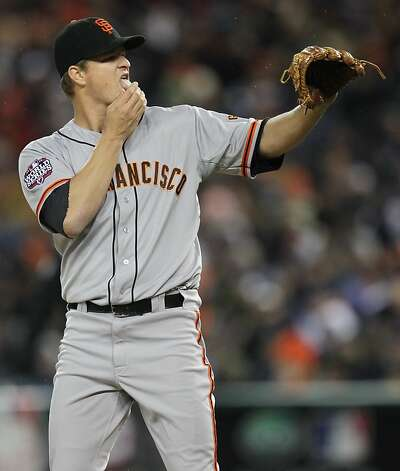 Giants' pitcher Matt Cain licks his fingertips in the 3rd inning during game 4 of the World Series at Comerica Park on Sunday, Oct. 28, 2012 in Detroit, MI. Photo: Lance Iversen, The Chronicle