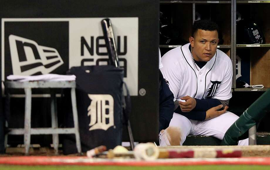 DETROIT, MI - OCTOBER 27:  Miguel Cabrera #24 of the Detroit Tigers looks on from the dugout against the San Francisco Giants in the ninth inning during Game Three of the Major League Baseball World Series at Comerica Park on October 27, 2012 in Detroit, Michigan. Photo: Ezra Shaw, Getty Images / Getty Images North America