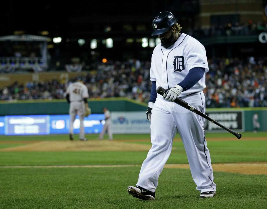 Detroit Tigers' Prince Fielder walks to the dugout after striking out during the eighth inning of Game 4 of baseball's World Series against the San Francisco Giants Sunday, Oct. 28, 2012, in Detroit. (AP Photo/Matt Slocum) Photo: Matt Slocum, Associated Press / AP