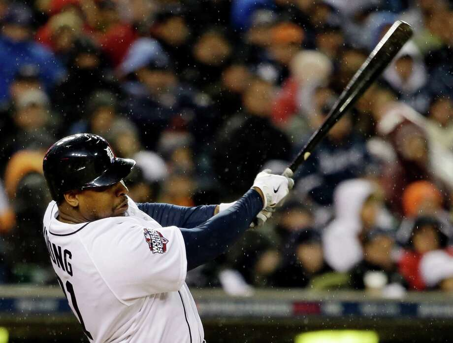 Detroit Tigers' Delmon Young hits a home run during the sixth inning of Game 4 of baseball's World Series against the San Francisco Giants Sunday, Oct. 28, 2012, in Detroit. (AP Photo/David J. Phillip) Photo: David J. Phillip, Associated Press / AP