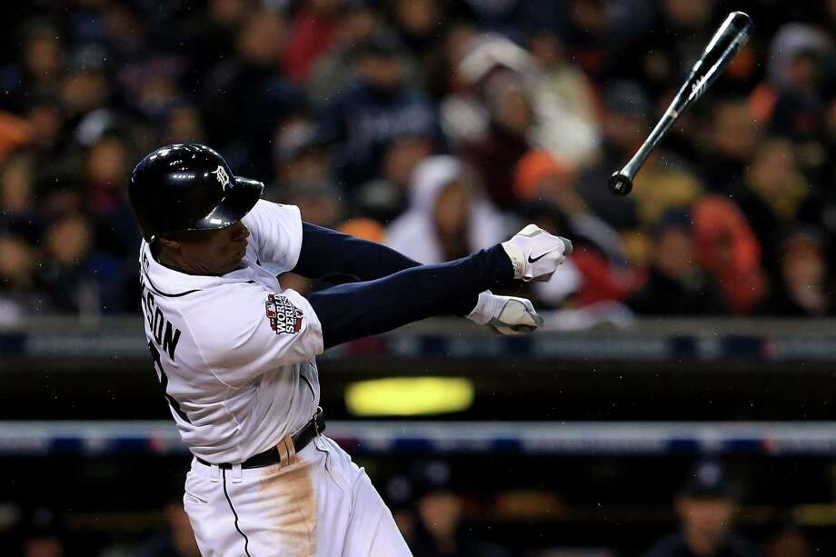 DETROIT, MI - OCTOBER 28:  Austin Jackson #14 of the Detroit Tigers loses his bat on a swing and a miss against Matt Cain #18 of the San Francisco Giants in the seventh inning during Game Four of the Major League Baseball World Series at Comerica Park on October 28, 2012 in Detroit, Michigan. Photo: Doug Pensinger, Getty Images / Getty Images North America
