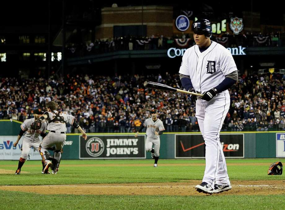 Detroit Tigers' Miguel Cabrera walks away after striking out to end Game 4 of baseball's World Series against the San Francisco Giants  Sunday, Oct. 28, 2012, in Detroit. The Giants won 4-3 to win the series. (AP Photo/Matt Slocum) Photo: Matt Slocum, Associated Press / AP