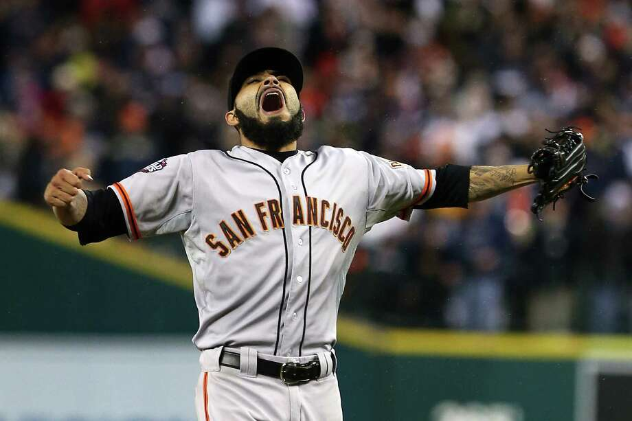 DETROIT, MI - OCTOBER 28:  Sergio Romo #54 of the San Francisco Giants celebrates striking out Miguel Cabrera #24 of the Detroit Tigers to win Game Four of the Major League Baseball World Series at Comerica Park on October 28, 2012 in Detroit, Michigan. The San Francisco Giants defeated the Detroit Tigers 4-3 in the tenth inning to win the World Series in 4 straight games. Photo: Ezra Shaw, Getty Images / Getty Images North America