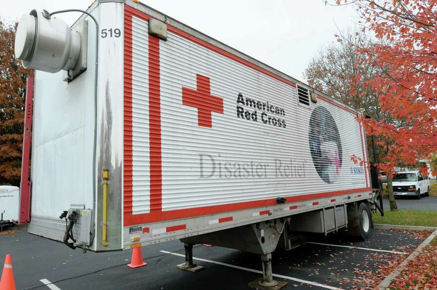 A mobile kitchen is seen in the parking lot at the disaster operations center for the Red Cross Nort