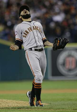 San Francisco Giants' Sergio Romo reacts after striking out Detroit Tigers' Miguel Cabrera in the 10th inning of Game 4 of baseball's World Series Sunday, Oct. 28, 2012, in Detroit. The Giants won the game 4-3 to win the World Series. (AP Photo/Matt Slocum) Photo: Matt Slocum, Associated Press