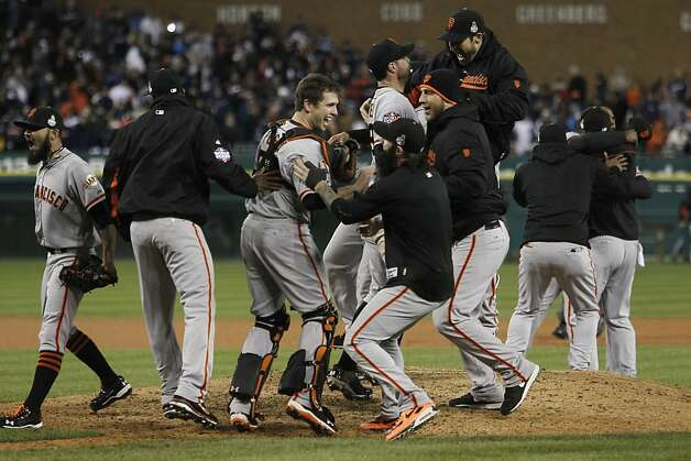 The Giants celebrate their World Series win at Comerica Park on Sunday, Oct. 28, 2012 in Detroit, MI. Photo: Michael Macor, The Chronicle