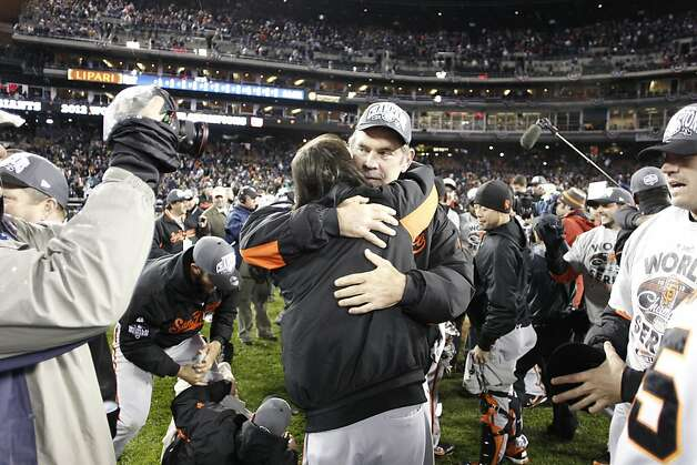 Bruce Bochy and Tim Lincecum celebrate the Giants' World Series win after game 4 of the World Series at Comerica Park on Sunday, Oct. 28, 2012 in Detroit, MI. Photo: Michael Macor, The Chronicle