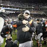 Bruce Bochy and Tim Lincecum celebrate the Giants' World Series win after game 4 of the World Series at Comerica Park on Sunday, Oct. 28, 2012 in Detroit, MI.