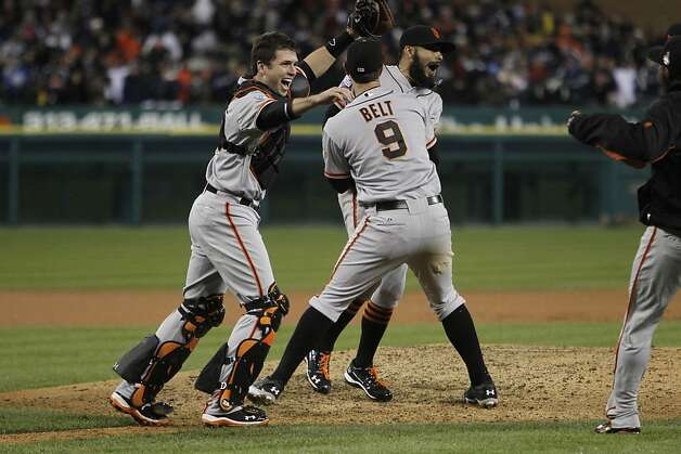 Giants' catcher Buster Posey celebrates the World Series win after game 4 of the World Series at Comerica Park on Sunday, Oct. 28, 2012 in Detroit, MI. Photo: Michael Macor, The Chronicle