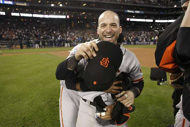 Marco Scutaro celebrates the Giants' World Series win after game 4 of the World Series at Comerica Park on Sunday, Oct. 28, 2012 in Detroit, MI. Photo: Michael Macor, The Chronicle