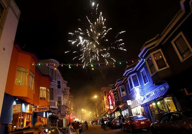 Fireworks erupted over North Beach after the Giants victory. Giants fans in North Beach went wild as their baseball team won their second World Series title in three years Sunday October 28, 2012. Photo: Brant Ward, The Chronicle
