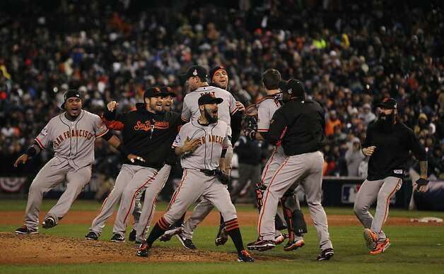 The Giants celebrate their victory over the Detroit Tigers in a four game sweep in the World Series at Comerica Park on Sunday, Oct. 28, 2012 in Detroit, MI. Photo: Lance Iversen, The Chronicle