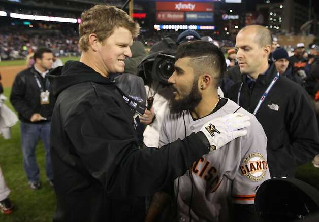 Matt Cain celebrates with Sergio Romo the Giants' victory over the Detroit Tigers in a four game sweep in the World Series at Comerica Park on Sunday, Oct. 28, 2012 in Detroit, MI. Photo: Lance Iversen, The Chronicle