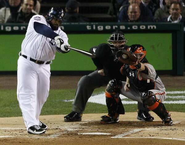 Tigers' first baseman Prince Fielder strikes out in the 1st inning during the World Series game 4 at Comerica Park in Detroit, MI, on Sunday, Oct. 28, 2012. Photo: Carlos Avila Gonzalez, The Chronicle