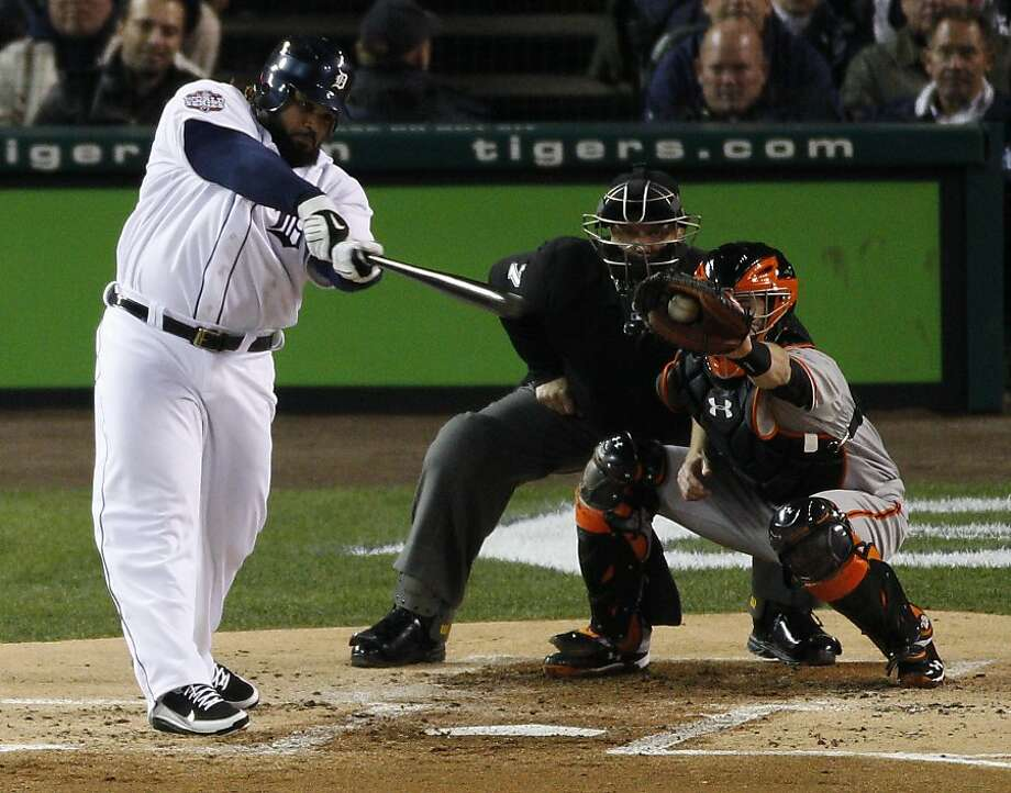 Detroit first baseman Prince Fielder takes a big swing and a miss in striking out in the first inning. Photo: Carlos Avila Gonzalez, The Chronicle