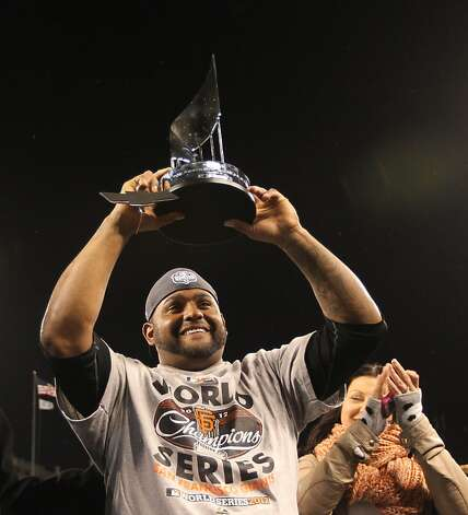 Pablo Sandoval carries the MVP award after game 4 of the World Series at Comerica Park on Sunday, Oct. 28, 2012 in Detroit, MI. Photo: Lance Iversen, The Chronicle