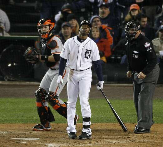 Tigers' center fielder Austin Jackson reacts after striking out in the 10th inning during the World Series game 4 at Comerica Park in Detroit, MI, on Sunday, Oct. 28, 2012. Photo: Carlos Avila Gonzalez, The Chronicle