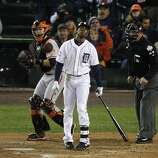 Tigers' center fielder Austin Jackson reacts after striking out in the 10th inning during the World Series game 4 at Comerica Park in Detroit, MI, on Sunday, Oct. 28, 2012.