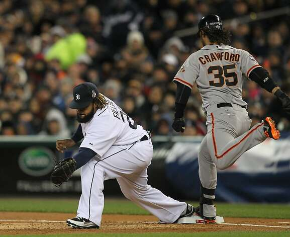 Giants' shortstop Brandon Crawford beats the throw in the 3rd inning during game 4 of the World Series at Comerica Park on Sunday, Oct. 28, 2012 in Detroit, MI. Photo: Lance Iversen, The Chronicle
