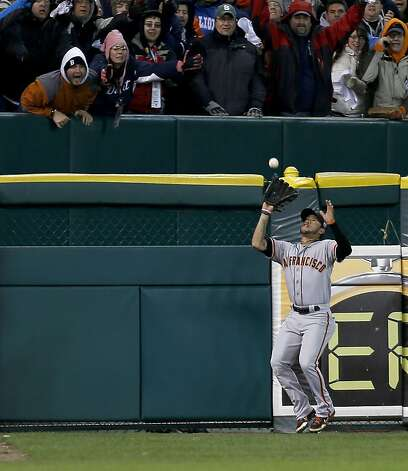Giants' left fielder Gregor Blanco grabs a Jhonny Peralta fly ball in the 6th inning during game 4 of the World Series at Comerica Park on Sunday, Oct. 28, 2012 in Detroit, MI. Photo: Michael Macor, The Chronicle
