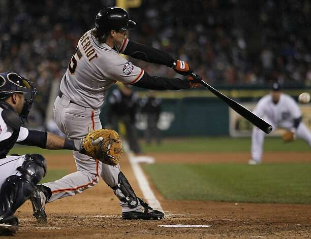 Giants' DH Ryan Theriot hits a single in the 10th inning during game 4 of the World Series at Comerica Park on Sunday, Oct. 28, 2012 in Detroit, MI. Photo: Michael Macor, The Chronicle
