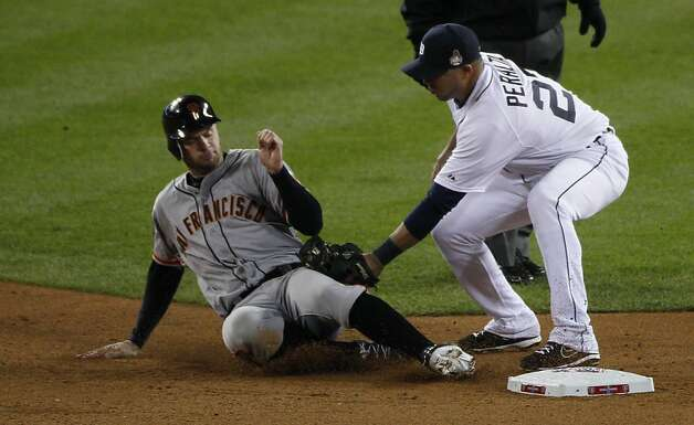 Giants' 1st baseman Brandon Belt is caught stealing 2nd base in the 4th inning during the World Series game 4 at Comerica Park in Detroit, MI, on Sunday, Oct. 28, 2012. Photo: Carlos Avila Gonzalez, The Chronicle