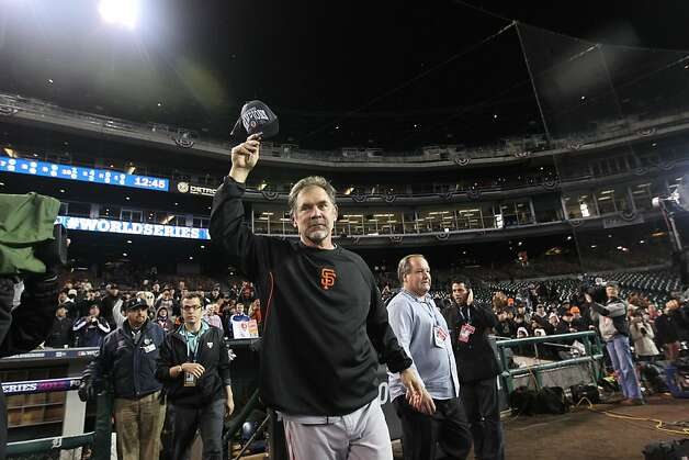 Giants' manager Bruce Bochy celebrates the teams victory over the Detroit Tigers in game 4 of the World Series at Comerica Park on Sunday, Oct. 28, 2012 in Detroit, MI. Photo: Lance Iversen, The Chronicle