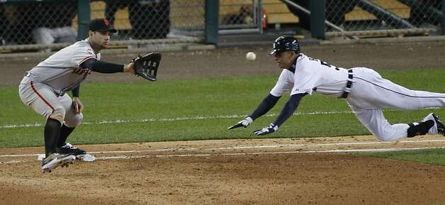 Tigers' left fielder Quintin Berry is out at 1st base in the 5th inning during the World Series game 4 at Comerica Park in Detroit, MI, on Sunday, Oct. 28, 2012. Photo: Carlos Avila Gonzalez, The Chronicle