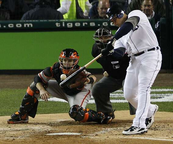 Tigers' third baseman Miguel Cabrera hits a 2-run homer in the 3rd inning during the World Series game 4 at Comerica Park in Detroit, MI, on Sunday, Oct. 28, 2012. Photo: Carlos Avila Gonzalez, The Chronicle