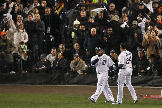 Tigers' first baseman Prince Fielder points to Miguel Cabrera after Cabrera hit a 2-run homer in the 3rd inning during the World Series game 4 at Comerica Park in Detroit, MI, on Sunday, Oct. 28, 2012. Photo: Carlos Avila Gonzalez, The Chronicle