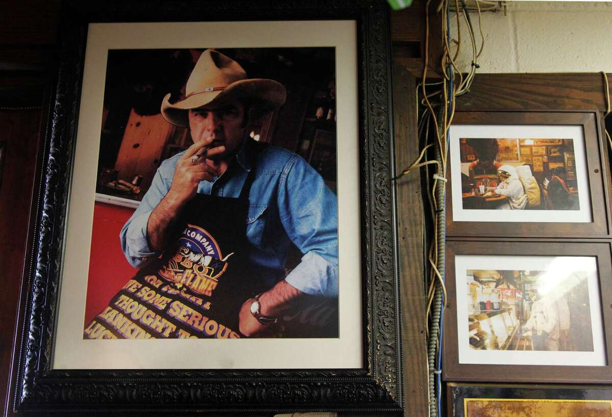 A photograph of Jim Goode, original founder Goode Co., is on display in the original restaurants along Kirby Drive on Thursday, Oct. 11, 2012, in Houston. This year marks the 35th anniversary of Goode Company.
