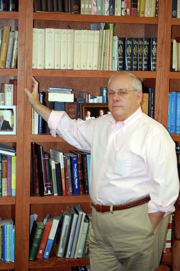 FOR RELEASE SUNDAY, OCTOBER 28, 2012, AT 12:00 A.M. EDT - In this Oct. 10, 2012 photo, Rabbi Peter E. Hyman poses in his office at Temple B'nai Israel in Easton, Md. Hyman was the first rabbi to be invited to the Kingdom of Saudi Arabia for many years thanks to his work for the Boy Scouts of America and their Messengers of Peace Program. (AP Photo/The Star-Democrat, Josh Bollinger) Photo: Josh Bollinger, MBR