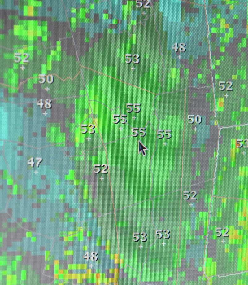 Chart showing Hurricane Sandy predicted wind speeds for the Capital Region, with Albany highlighted at 55 mph. Shown at the National Weather Service facility  in Albany, N.Y., Monday morning Oct. 30, 2012. (Will Waldron / Times Union) Photo: Ww