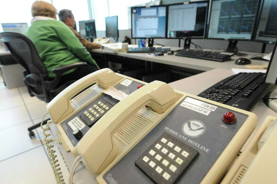 The Hurricane Hotline at National Weather Service facility  in Albany, N.Y., Monday, Oct. 30, 2012. Meteorologists are monitoring Hurricane Sandy.  (Will Waldron / Times Union) Photo: Ww