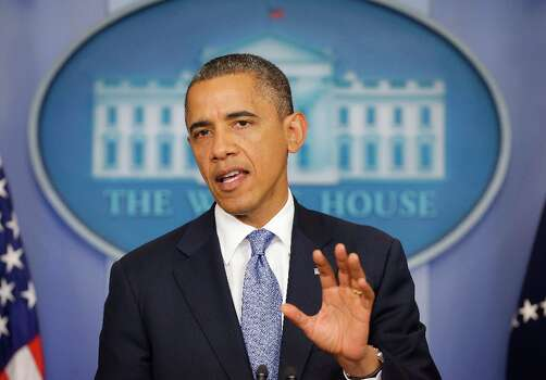 President Barack Obama speaks in the White House Briefing Room in Washington, Monday, Oct. 29, 2012, after returning to the White House from a campaign stop in Florida to monitor Hurricane Sandy. Photo: Pablo Martinez Monsivais, Associated Press / AP