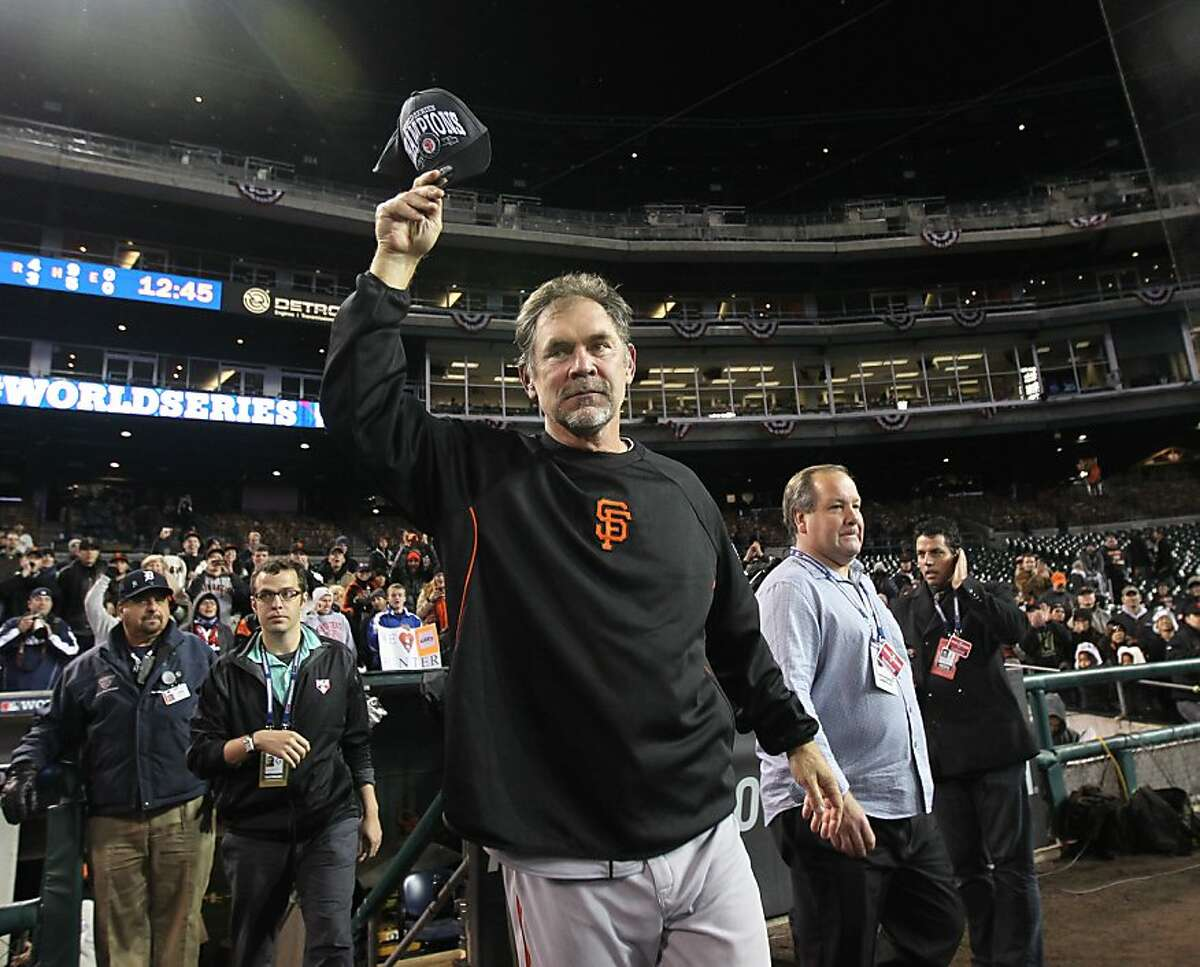 Giants' manager Bruce Bochy celebrates the teams victory over the Detroit Tigers in game 4 of the World Series at Comerica Park on Sunday, Oct. 28, 2012 in Detroit, MI.