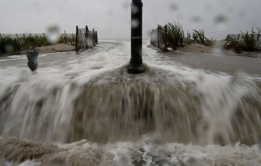 Waters from Hurricane Sandy start to flood Beach Ave. on October 29, 2012 in Cape May, New Jersey. L