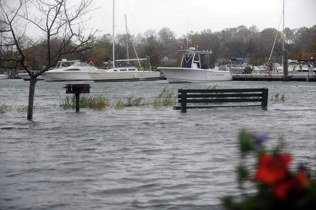 South Benson Marina in Fairfield, Conn. was flooded on Monday, Oct. 29, 2012. High winds from Hurricane Sandy moved into southern Connecticut on Monday morning. Conditions are expected to get worse at the next high tide around midnight tonight. Photo: Cathy Zuraw