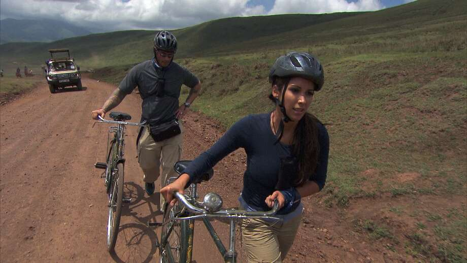 Vanessa Macias on treacherous bike last Sunday. (CBS / ©2012 CBS Broadcasting, Inc. All Rights Reserved) Photo: Best Possible Screen Grab / ©2012 CBS Broadcasting, Inc. All Rights Reserved