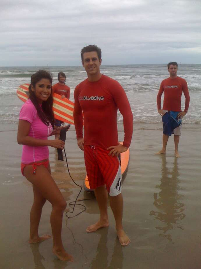 Vanessa's adventurous spirit also was showcased on local travel show, 'Vamos!' Here she tries surfing.  (Luis Munoz)