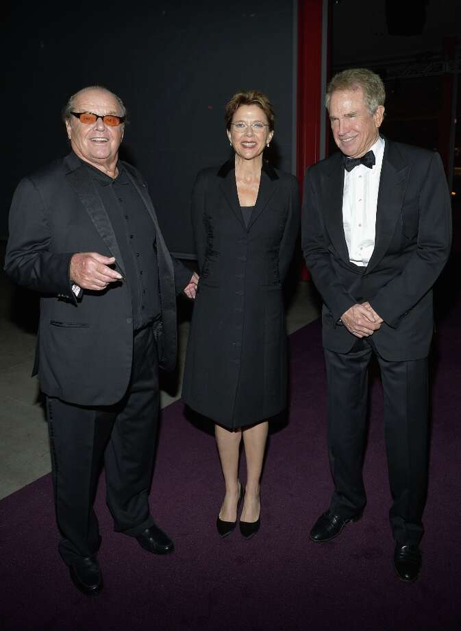 (L-R) Actors Jack Nicholson, Annette Bening and Warren Beatty attend LACMA 2012 Art + Film Gala Honoring Ed Ruscha and Stanley Kubrick presented by Gucci at LACMA on October 27, 2012 in Los Angeles, California. Photo: Charley Gallay, Getty Images For LACMA / 2012 Getty Images