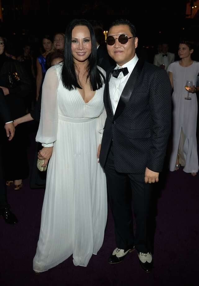 (L-R) LACMA Trustee Eva Chow and rapper Psy attend LACMA 2012 Art + Film Gala Honoring Ed Ruscha and Stanley Kubrick presented by Gucci at LACMA on October 27, 2012 in Los Angeles, California. Photo: Charley Gallay, Getty Images For LACMA / 2012 Getty Images